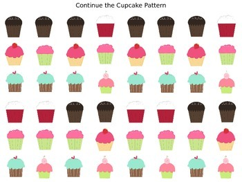 Continue the Pattern: Cupcakes