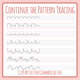 Continue the Pattern on Beginner Handwriting Lines Tracing Clip Art Set