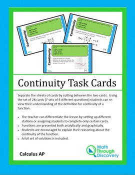 Calculus:  Continuity Task Cards