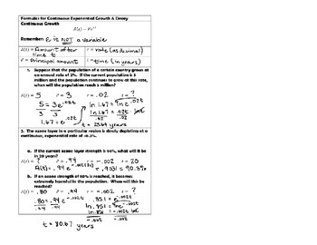 Continuous Exponential Growth Notes & Practice for INB