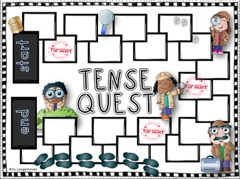 Continuous Tense Board Game (with or without QR codes)