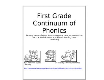 Continuum of Phonics at a Glance First Grade