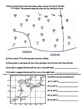 Contour Lines Worksheets (Topographic Maps)