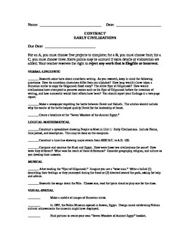 Contract Project Early Civilizations