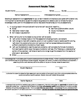 Contract for retaking test