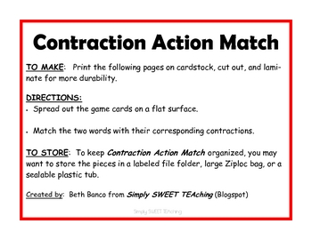 Contraction Action Match Literacy Center Game