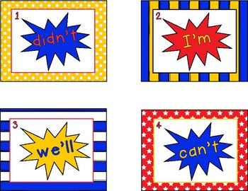 Contraction Action! Matching Activity Cards-Scoot or Write the Room