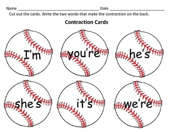 Literacy Centers: Contraction Worksheets: Sports Theme