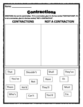 Contraction Activity - Cut & Paste Contraction into the correct column.