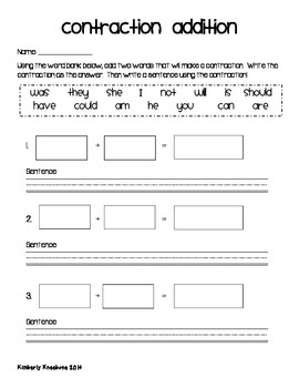 Freebie: Contractions Addition Activity Worksheet