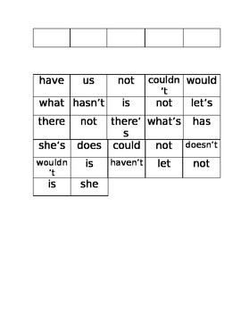 Contraction Addition Cut and Paste
