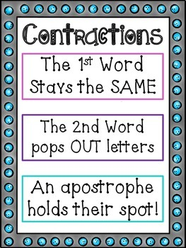 Contraction Anchor Chart + Matching Game