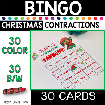 Christmas Contraction BINGO Game - 30 Cards (Includes Black and White cards)
