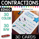 Contractions BINGO - 30 Cards (Includes Black and White cards)