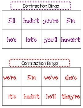 Contraction Bingo