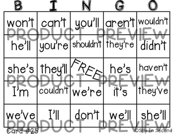 Bingo Fun with CONTRACTIONS