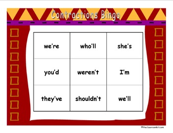 Contraction Bingo Game