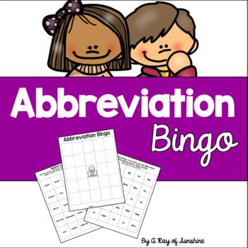 Abbreviation Bingo Game
