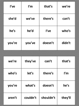 Contraction Bingo--Print and Play!