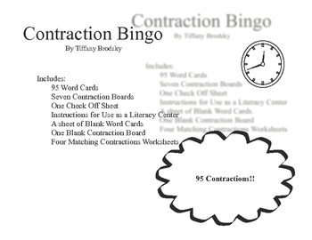 Contraction Bingo and Matching Sheets with 95 Contractions!!