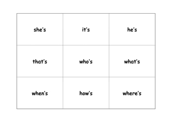 Contraction Bingo for Intervention, small group, and RTI (__ is)