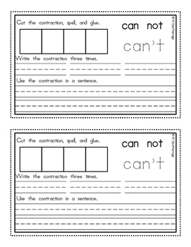 Contraction Books for Literacy Centers Have Is Not Am Are
