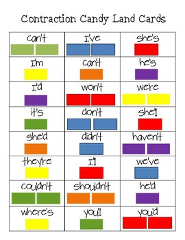 Contraction Candy Land Cards