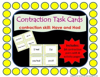 Contraction Cards (Have and Had)