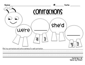 Contraction Caterpillar {FREEBIE}
