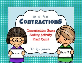 Contraction Concentration Game, Sorting Activity, and Flash Cards