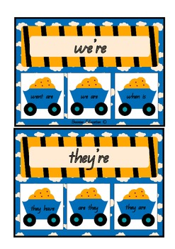Contraction Construction Clip Cards