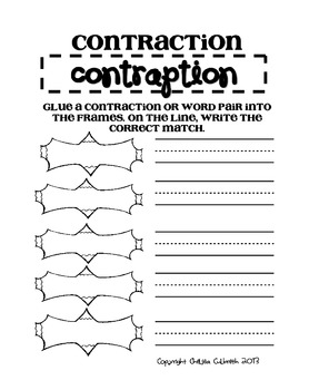 Contraction Contraption! Teaching Contractions-Freebie