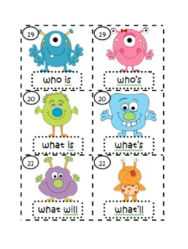 Contraction Critters {Matching Game with Recording Sheet}