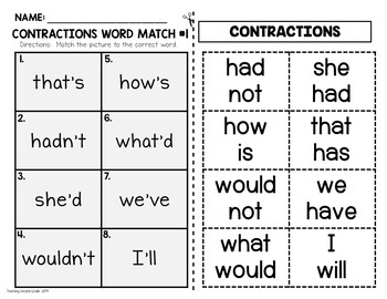 Contraction Cut and Paste Worksheets
