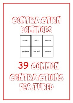 Contraction Dominoes **39 contractions featured**
