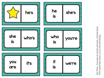 Contraction Dominoes - Matching Activity, Game, Center
