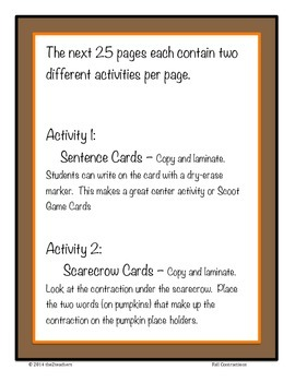 Contractions - Fall Themed Games, Centers, Worksheets, Task Cards - 74 pages!