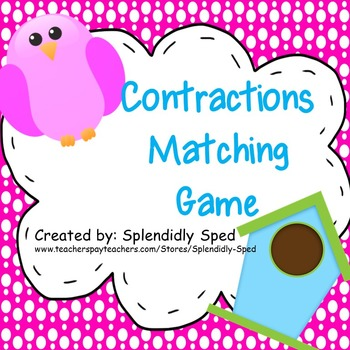 1st and 2nd grade contractions task/file folder game