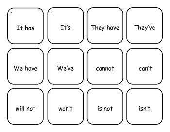 Contraction Flash Cards