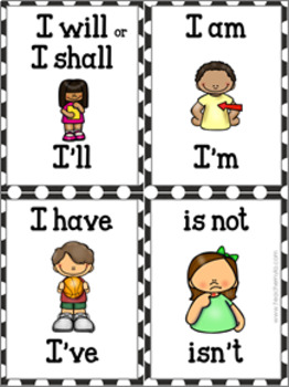 Contraction Flash Cards - Illustrated