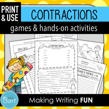 contraction flashcards by mrs bart teachers pay teachers