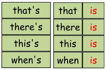 Contraction  Flashcards (Pocket Chart)