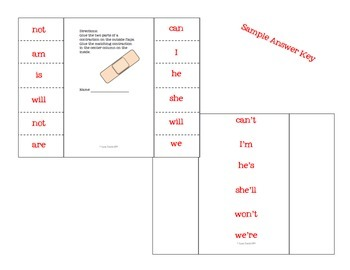 Contraction Foldable Sort Freebie