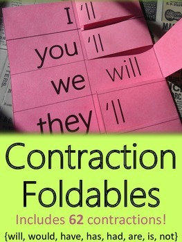 Contraction Foldables {Interactive Student Notebook Refere