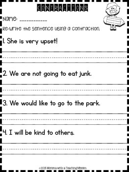 Contraction Freebie No Prep Printables