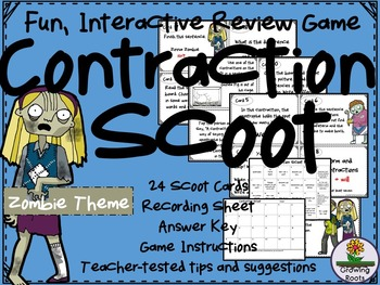 Contraction Task Cards Scoot Game
