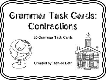 Contraction Grammar Task Cards