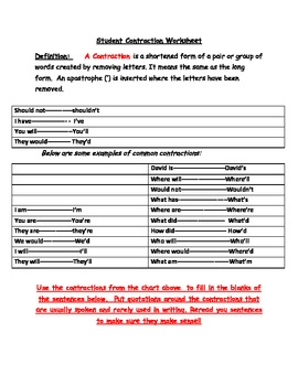 Contraction Handout - Springboard for L2 Conversation Practice