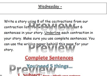 Contraction Homework Word Work Packet