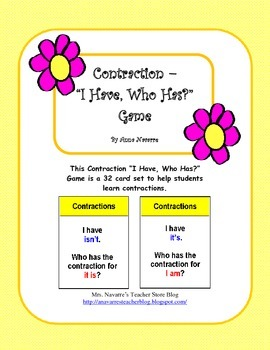 "Contraction - ""I Have, Who Has?"" Game"